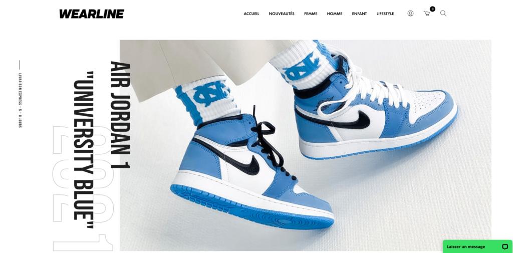 homepage du site wearline.co