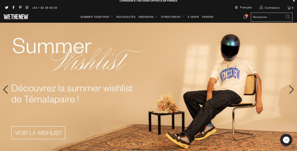 Homepage du site wethenew